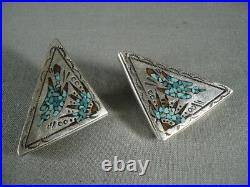 Very Rare Vintage Navajo Sterling Silver Turquoise Coral Collar Protectors