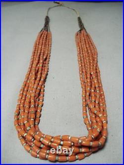Very Rare Vintage Santo Domingo Coral Turquoise Heishi Necklace