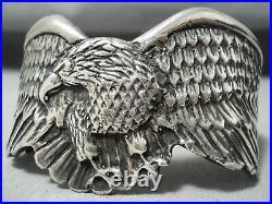 Very Rare Vintage Yuma Sterling Silver Eagle Heavy Bracelet
