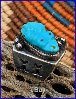 Vintage 1960's Rare Bernard Sr & Alicia Leekya Carved Turquoise Frog Ring