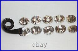 Vintage E&C Fierro Navajo Native American Sterling Silver Lapis Concho Belt RARE