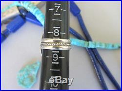 Vintage LARGE 1.25 RARE Lapis Lazuli Navajo Signed Sterling Ring sz 8.5