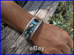 Vintage NAVAJO Cuff Silver Bracelet Rare Pow Wow Signed Native American Jewelry