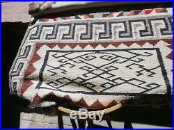 Vintage Native American Indian Navajo Pictorial Rug 40's RARE Piece HELLO