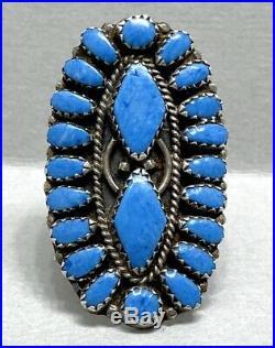 Vintage Native American Navajo Sterling Silver Blue Lapis Cluster Ring RARE