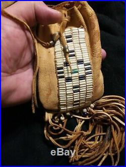 Vintage Native American medican pouch elk wampum and rare beads. Old Aprox 60+