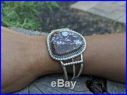 Vintage Navajo Cuff Bracelet Tom Begay Rare Large WHITE BUFFALO Turquoise Silver