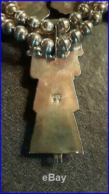 Vintage Navajo FRANK YAZZIE Kachina Dancer Squash Blossom Necklace Sterling RARE