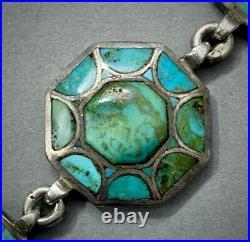 Vintage Navajo RARE DESIGN Kingman Turquoise Inlay Sterling Silver Bracelet