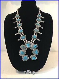Vintage Navajo RARE Morenci Turquoise/Sterling Squash Blossom Necklace 179 grams