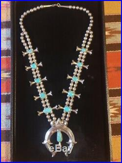 Vintage Navajo Rare Double Squash Blossom Necklace Turquoise Sterling Silver 28