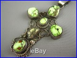 Vintage Navajo Sandoval Sterling Rare Green Carico Lake Turquoise Cross Pendant
