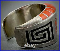 Vintage Navajo Sterling Silver Coral Inlay Cuff Bracelet By L. Parker VERY RARE