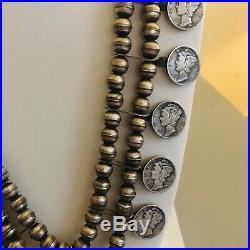 Vintage Navajo Sterling Silver Mercury Dime Squash Blossom Necklace W. Naja rare