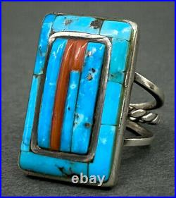 Vintage Navajo Sterling Silver Morenci Turquoise Coral Cornrow Inlay Ring RARE