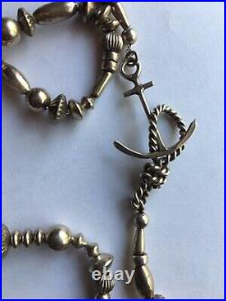 Vintage Navajo Sterling Silver Multi bench Bead Rare Mariners Necklace 25 33gr