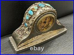 Vintage Navajo old pawn rare silver and turquoise decorated clock- Percy Spencer