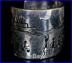 Vintage Old Pawn HOPI Rare Find Victor Coochwytewa Storyteller Sterling Bracelet