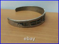 Vintage Rare Collectible Ronald Wadsworth Hopi Sterling Silver Overlay Cuff 22g