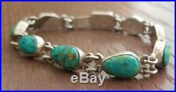 Vintage Rare Federico Jimenez Sterling Natural Blue Gem Turquoise Link Bracelet