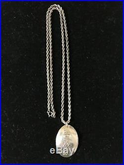 Vintage Rare Hand Carved Silver Tlingit Pendant & Chain Octopus Alaska