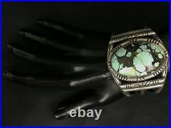 Vintage Rare Huge Navajo Hubei Turquoise Sterling Silver Cuff Bracelet 82g
