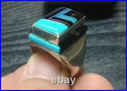Vintage Rare Native Zuni Pyne Sterling Silver Onyx Turquoise Ring Size 10.5-11