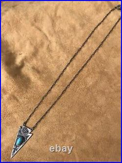 Vintage Rare Whirling Log Arrow Necklace With Smooth Bezel Turquoise