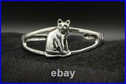 Vintage Sterling Silver Cuff Bracelet Ted Ott RARE Cat Cuff Bracelet