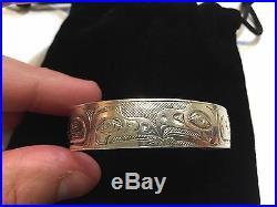 Vintage Tlingit Silver Bracelet Ed Kunz Original Juneau Alaska Signed Rare