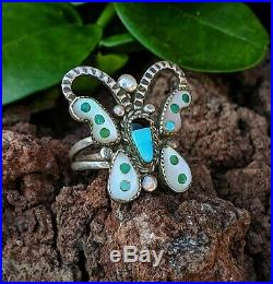 Vintage Zuni HOWARD LEEKELA Sterling Silver Turquoise Inlay Butterfly Ring RARE