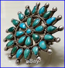 Vintage Zuni Sterling Silver & Petit Point Turquoise Ring OLD & RARE