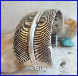 Vtg. Hopi TRINIDAD LUCAS Sterling Silver RARE EAGLE FEATHER Cuff Bracelet 52.1gr