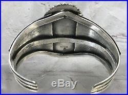 Vtg Huge Navajo Sterling Silver Hubei Turquoise Rare Cuff Bracelet 149g