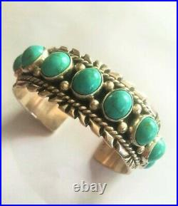 Vtg Navajo Sterling Silver Turquoise Cuff Bracelet 92g Signed Turtle Sunray Rare
