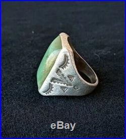 Vtg Rare 1940 Navajo Turquoise Ring Sterling Bell Trading Post Rare Mens 11
