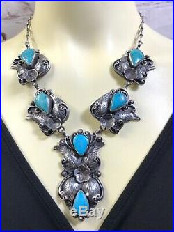 Vtg Rare Navajo Feathers Sterling Silver Kingman Turquoise Necklace 101g