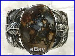 Vtg Rare Navajo Feathers Sterling Silver Petrified Wood Cuff Bracelet 100g