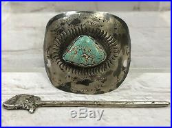 Vtg Rare Old Pawn Navajo Sterling Silver Spiderweb Turquoise Hair Barrette 33g
