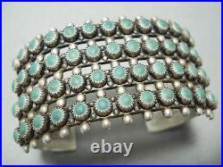 Wide Rare Vintage Navajo Cerrillos Turquoise Sterling Silver Bracelet