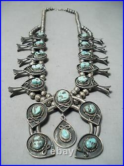 Women's Rare Turquoise Vintage Navajo Sterling Silver Squash Blossom Necklace