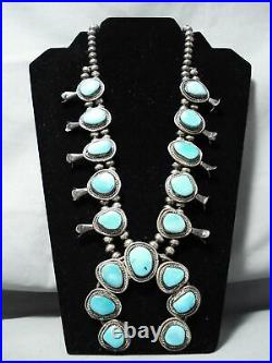 Women's Vintage Navajo Rare Turquoise Sterling Silver Squash Blossom Necklace