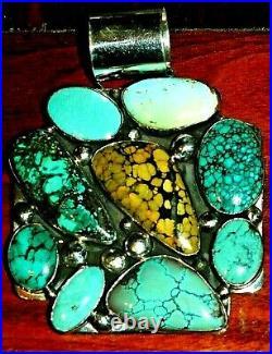 Wow 108 Grams! Huge! Ella Peter Spiderweb Rare Turquoise Navajo Sterling Pendant
