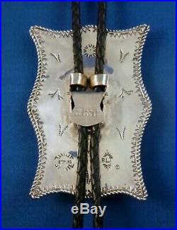 ZUNI BOLO Tie Inlay Sterling Silver Rare & UNIQUE SIGNED Bevis Tsadiasi, bola