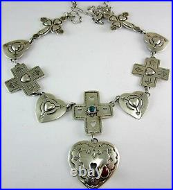 (rare) Rodney Coriz Sterling Silver Coral & Turquoise Heart/cross Necklace 38.8g